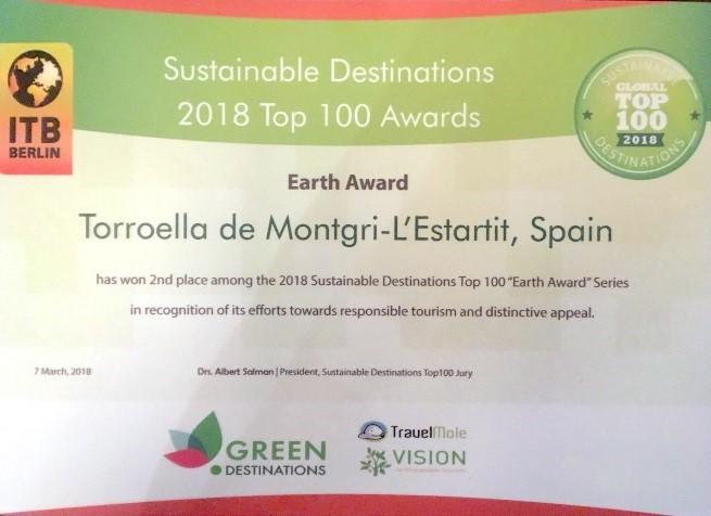 Torroella de Montgri-L'Estartit premiada con la segunda posición en el Top 100 de Destinaciones Sostenibles